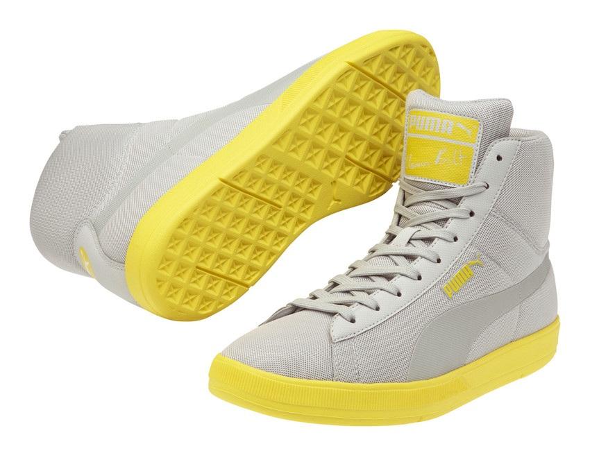 Grau-gelbe Bolt Schuhe Puma