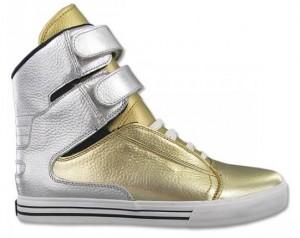 Der Supra TK Society Sneaker in Gold und Silber