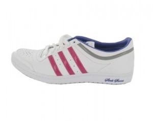 Der adidas top 10 HI SLEEK in weiß & pink in der Profilansicht