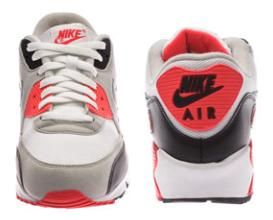 Die Front- und Rückseite des Air Max 90 Infared von Nike
