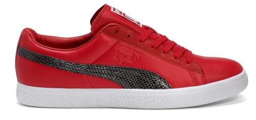 Clyde Sneaker Puma rot Leder